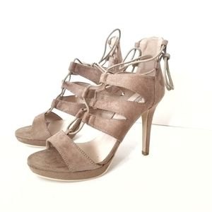 NEW Catherine Malandrino Tan Lillie Suede Heels 8